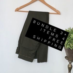 Free people pants stretch army green pull on 28